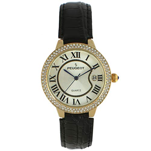 Peugeot Women's Round Tank Watch 14K Gold Plated with Roman Numerals and Calendar, Black Leather ()
