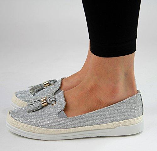 Silver Flat Womens New On Espadrilles Glitter Sneakers Casual Shoes Tassel Slip Summer A7ZP5