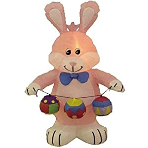 4u0027 Airblown Inflatable Easter Bunny With Eggs Lighted Yard Art Decoration