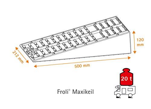 Froli Auffahrkeil für Wohnmobil, Reisemobil, Wohnwagen und Camper, Ausgleichskeil Set, 2x Maxikeil, 1x Keil-Tasche, bis…
