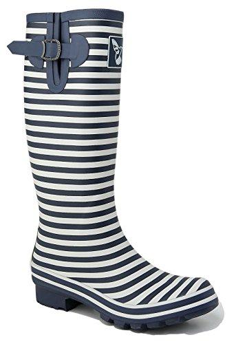 Ladies Evercreatures Multicoloured Knee High Tall Wellies Striped Wellington Boots - (UK 3-8) Bristol