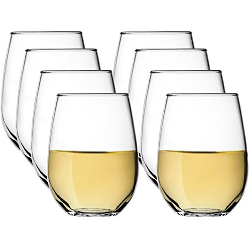 Stölzle (8 Pack) Stemless Crystal 16oz Wine Glasses Set All Purpose Drinking Red White by Stolzle