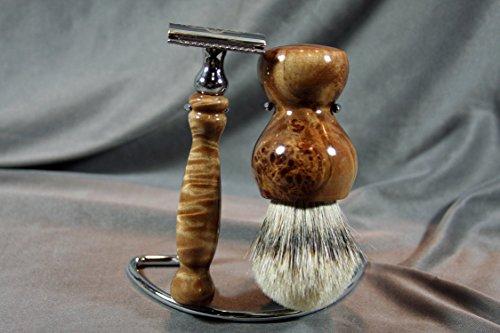 Maple Burl Shaving Set w/ Best Grade Badger Hair Brush