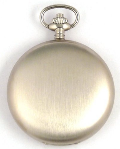 Bernex Swiss Made Large Rhodium Plated Satin Pocket Watch with 17 Jewel Movement