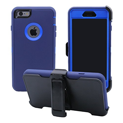 iPhone 6 Plus / 6S Plus Cover | 2-in-1 Screen Protector & Holster Case | Military Grade Edge-to-Edge Protection with carrying belt clip | Drop Proof Shockproof Dustproof | Navy Blue / Blue (Blue Leather Case Belt Clip)
