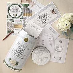 Wedding Keepsake Gift Set Kit | Time Capsule Tin - Personalized Decorations Black White Silver - Bridal Shower Gifts for Couple - Preserve Memories book album - Letter to the Bride and (Keepsake Time Capsule)