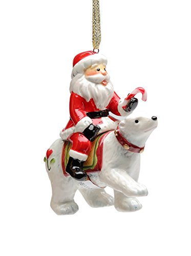 Riding Polar Bear (Cosmos Gifts 10645 Santa Riding Polar Bear Ornament, 3-1/4-Inch)