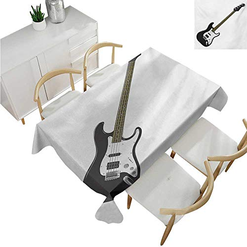 - familytaste Guitar,Vintage tablecloths,Bass Four String Rhythm Music Rock and Roll Element Detailed Illustration,Waterproof Table Cover for Kitchen 70