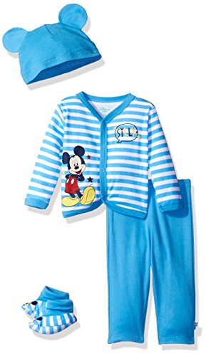 Disney Baby Boys' Mickey Mouse 4-Piece Cardigan, Pant, Booties, and Hat Set, Azure Blue, 3/6