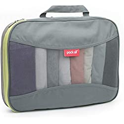 pack all Compression Packing Cube for Travel Clothes Organizer Pouch Single Storage Bag Luggage Organizer Mesh Packing Square Space Saver (Gray, Large)
