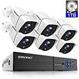 8CH 5.0MP Home Security Camera System,SMONET Surveillance DVR Recorder(1TB Hard Drive) with 6pcs Weatherproof IP66 Bullet CCTV Cameras,Super Night Vision,Easy Remote Access on Phone/PC,Free APP