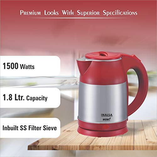 INALSA Electric Kettle WOW 1.8L Capacity,(Grey/Red)