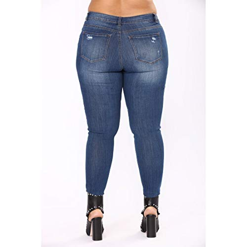 Jeans Mid Distressed Plus Femme Style Denim Skinny Size Style 4XL 1 Long MALLTY Jeans Stretch Color Taille Jeans 2 Rise BqnFPYf