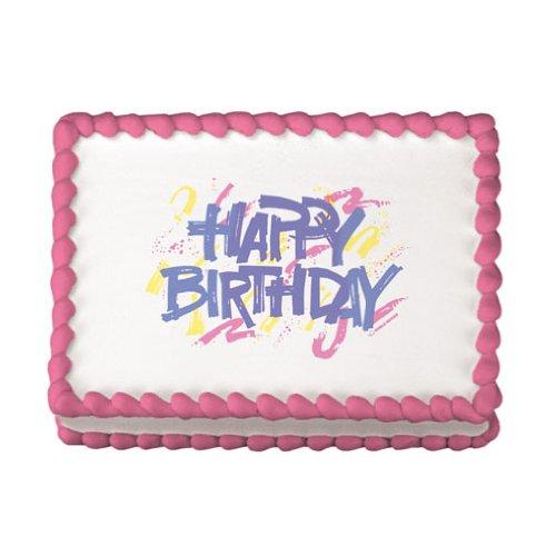 Lucks Edible Image, Happy Birthday Bold, 12 Count -