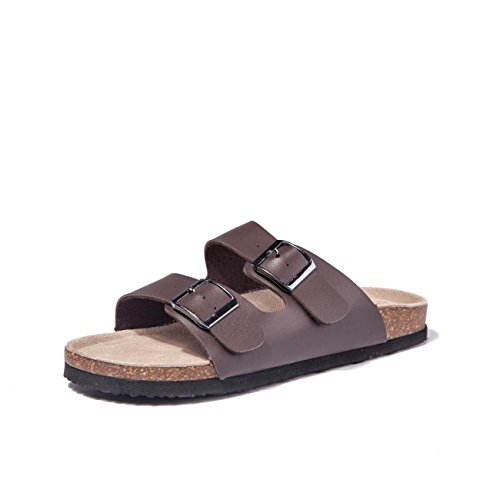 TF STAR Women Arizona 2-Strap Adjustable Buckle, Flat Casual Cork Slide Sandals,Slide Cork Footbed Sandals for Women/Ladies/Girls Brown ()