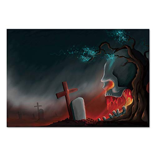 Large Wall Mural Sticker [ Halloween,Graveyard Cemetery Tree with Evil Skull Tomb Stone Cruciform Creepy Fantastic Decorative,Multicolor ] Self-adhesive Vinyl Wallpaper / Removable Modern Decorating -