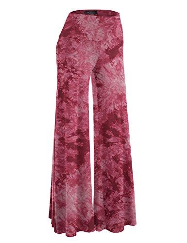 Fold Leg - Made By Johnny MBJ WB1060 Womens Chic Tie Dye Palazzo Pants XL Wine