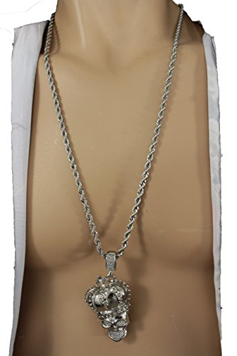 TFJ Men Fashion Necklace Long Metal Chains Skeleton Crown Iced Out Pendant Skull King Hip Hop Silver