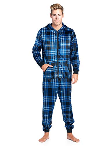 (Ashford & Brooks Men's Adult Mink Fleece Hooded One-Piece Union Suit Pajamas - Navy Plaid - Small)