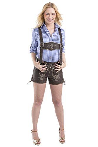 Damen Paulina Trachten Lederhose Oktoberfest Wiesn Madels Vintage kurz - Büffelleder Trachtenlederhose - Hose (38, dunkelbraun)