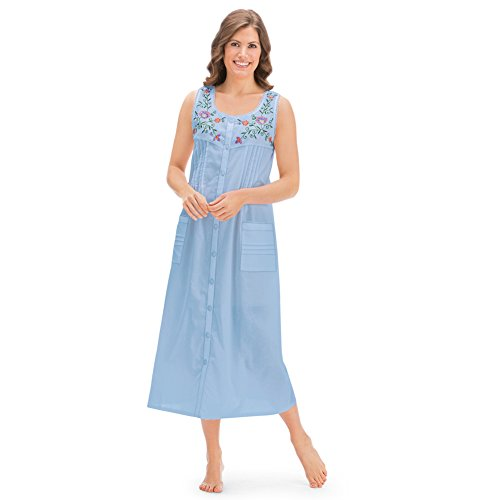 Cotton Embroidered Nightgown - Collections Etc Women's Pintuck Floral Embroidered Night Gown, Light Blue, XX-Large