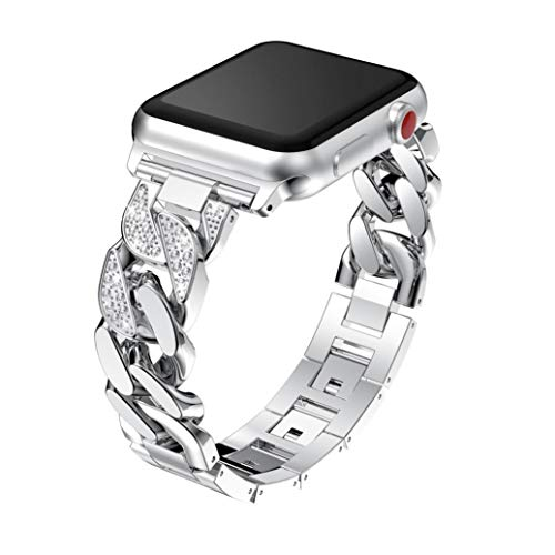 Watch Band For Apple Watch Series 3 42mm/38mm,Saying Metal Crystal Bands Strap Wrist Strap Replacement Accessories (42mm, Silver)