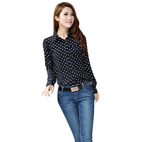 d5877ced Hengzhi Women's Long Sleeve Chiffon Shirts Cute Polka Dot Button Down  Blouse hot sale