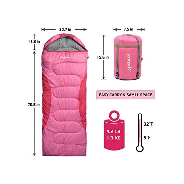 0 Degree Winter Sleeping Bag for Camping (350GSM) - Temp Range (5F-32F) Portable Waterproof with Compression Sack- camping sleeping bags for Big and Tall in Env Hoodie: for Backpacking Hiking 4 Season 4