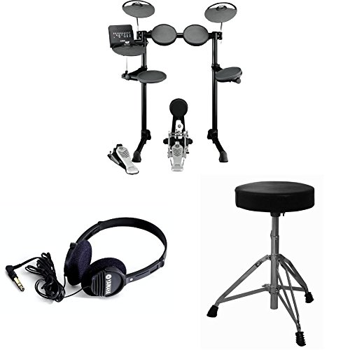 Yamaha DTX450K Electronic Drum Kit with Drum Throne, Vic Firth Drumsticks, and Full Size Stereo Headphones by