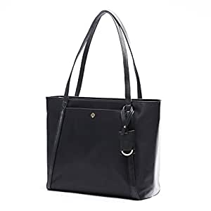 Laptop Bag for Women by Miss Fong,Womens Tote Bag Fits 15.6 Inch Laptop and Tablet,Nylon Tote Bag with In Bag Organizer and RFID Blocking Wallet Pocket (Black)
