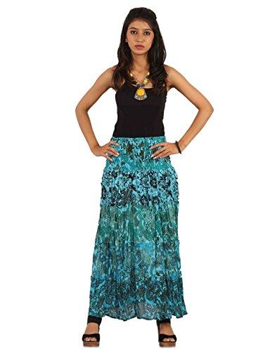 THE HAREM STUDIO Ths Womens Skirt Ankle Length - Cotton 2-In-1 Casual Dress Skirt - Floral Print (Blue) (Balloon Skirt Dress)