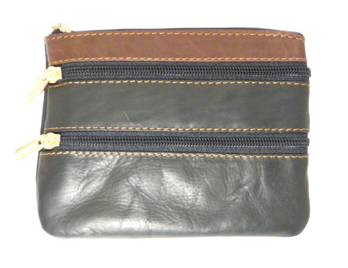 Ladies Black And Brown Leather Coin Purse With Three Zip Fastening Sections