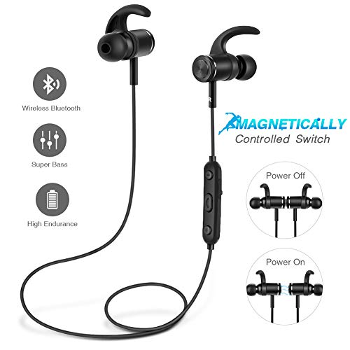 Bluetooth Headphones Wireless Earbuds with Magnetically Controlled Switch, Sport Sweatproof Earphones with Mic(Bluetooth 4.2, 8 Hours Playtime, Bass & HD Stereo, Metallic Housing)