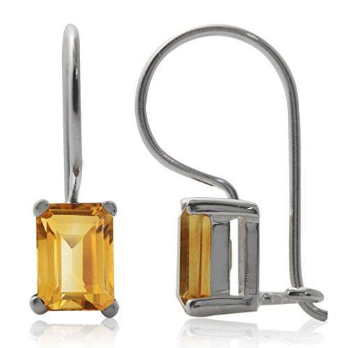 2.14ct. Natural Citrine 925 Sterling Silver Hook Closure Earrings