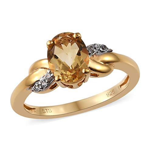 Citrine Cocktail Ring - 925 Sterling Silver 14K Yellow Gold Plated Oval Citrine Zircon Statement Ring for Women Size 7 Cttw 1