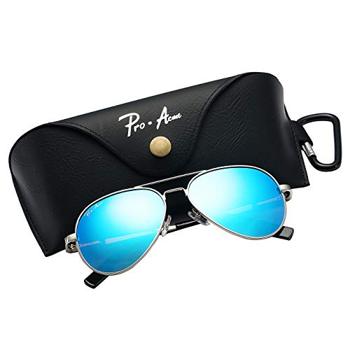 - Pro Acme Small Polarized Aviator Sunglasses for Kids and Youth Age 5-18 (Silver Frame/Blue Mirrored Lens)