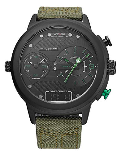- WEIDE Men's 3 Time Zone Analog Watch LCD Display Sport Digital Wrist Watch for Men Big Case Calendar Date Window Quartz Leather Band with Gift Box (Military Green)