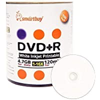 Smart Buy 100 Pack DVD+R 4.7gb 16x White Printable Inkjet Blank Media Record Disc, 100 Disc 100pk