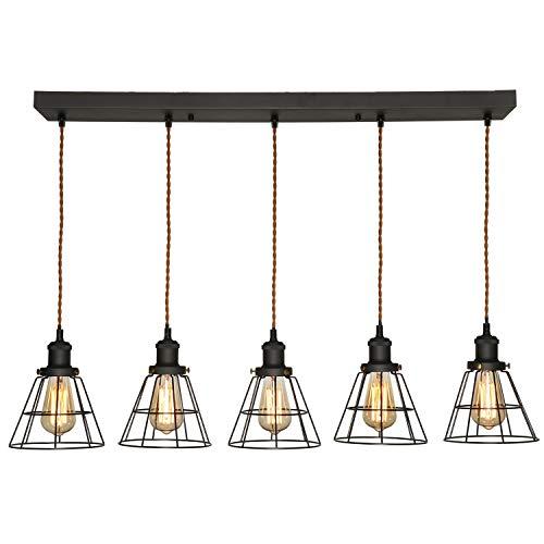 XIDING Rectangular Chandelier 5-Light, Indoor Home Black Pendant Lighting Fixture, Metal Vintage Caged Kitchen Island Lights, Antique Black Edison E26 Ceiling Lights