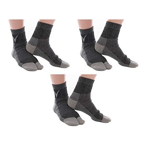 3 Pairs V-Toe Wool Warm Flip-Flop Big Toe Tabi Outdoor Indoor Stylish Hiking Or Casual Men, Womens, Girls Or Boys Socks Dark Grey