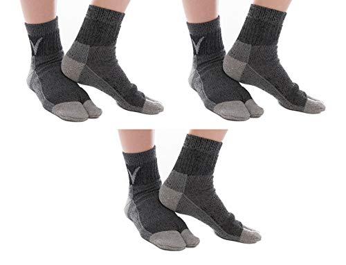 (3 Pairs V-Toe Wool Warm Flip-Flop Big Toe Tabi Outdoor Indoor Stylish Hiking Or Casual Men, Womens, Girls Or Boys Socks Dark Grey)