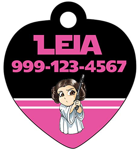 uDesignUSA Disney Star Wars Personalized Pet Id Tag for Dogs & Cats (Princess Leia) ()
