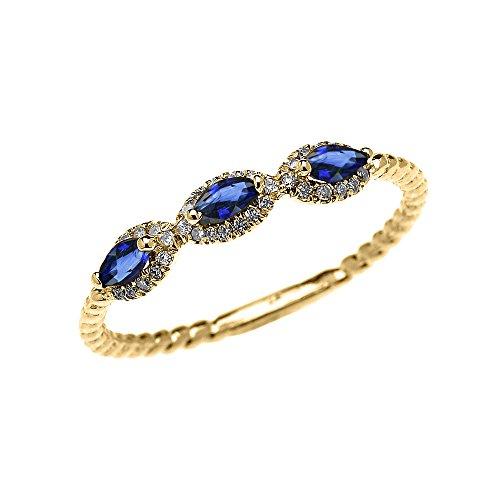 Bague Femme/ Bague De Fiançailles 10 Ct Or Jaune 3 Pierre Marquise Bleu Saphir Et Diamant Conception De Corde
