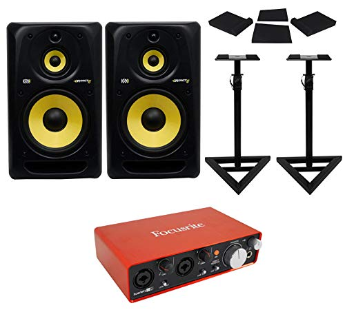 (2) KRK RP103G3 Rokit 10 Powered Active Studio Monitors+Interface+Stands+Pads