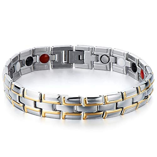 - COOLSTEELANDBEYOND Timeless Style Stainless Steel Mens Gold and Silver Link Magnetic Bracelet with four therapy elements Magnetic Germanium, Negative ion and Far Infrared
