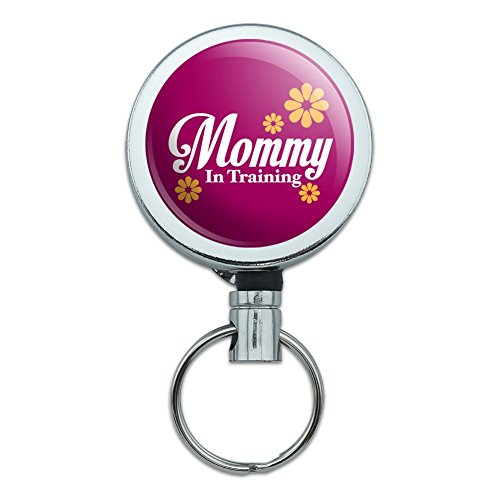 Mommy Card Holders (Mother Mom Mommy in Training Heavy Duty Metal Retractable Reel ID Badge Key Card Tag Holder with Belt Clip)