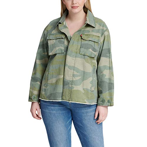 Levi's Women's Plus Size Cotton Printed High-Low Shirt Jacket, Light camo, 1 X