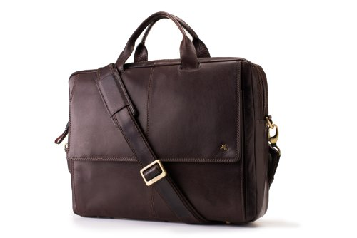 Visconti ML24 Leather Laptop Computer Case / Shoulder Messenger Bag (Brown) by Visconti