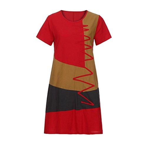 ... ZIYOU Damen Tank Tops Farbblock Knielang Kleider Frauen Lange Kurzarm T- Shirts Blusenkleid Casualkleider Partykleider 3de38a1345