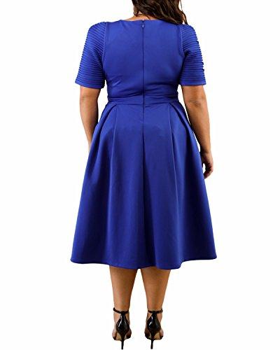 Ruffle Dress 3XL Blue Tunic XL Women's BIUBIU Party Plus Elegant Swing Size Cocktail zIxFPxpTH